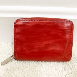 Louis Vuitton Epi red leather small zippier wallet
